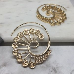 Jewelry - Willow Boho Gypsy Spiral Tribal Hoops Gold